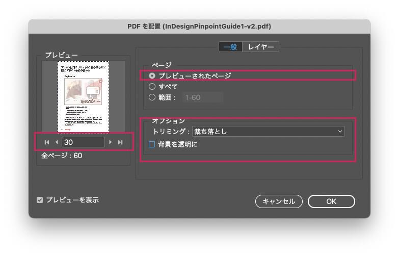 [PDFを配置]ダイアログ